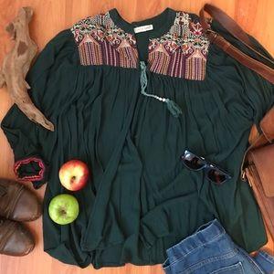 Orange Creek | Embroidered Green Tunic